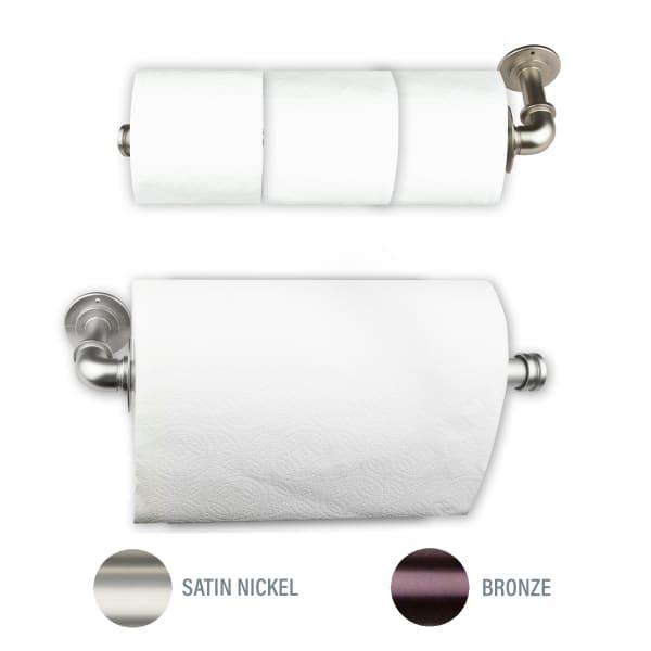 Industrial Satin Nickel Toilet Paper or Kitchen Towel Holder