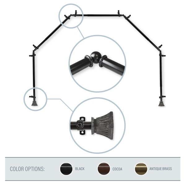 Crate Black 5-Sided Bay Window Curtain Rod