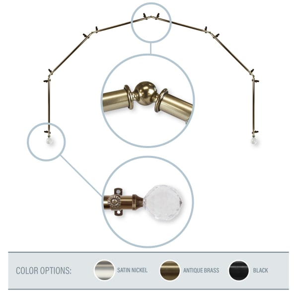 Lucent Antique Brass 6-Sided Bay Window Curtain Rod