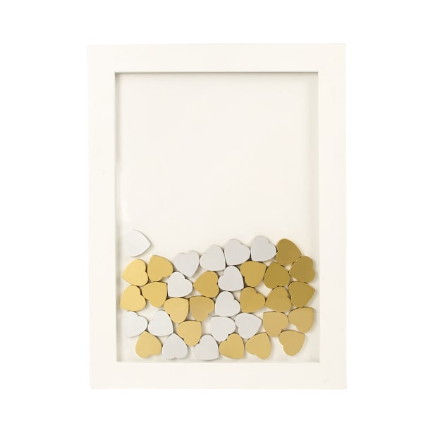 White Floral Heart Drop Guestbook