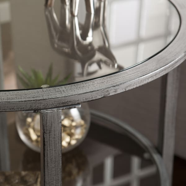 Silver Metal Round End Table