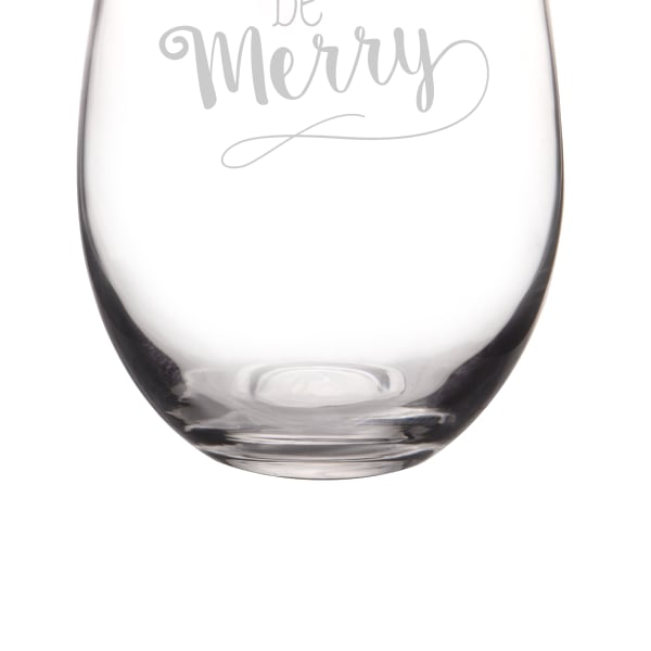 Be Merry Gold Rim Stemless Wine Glasses, Set of 4