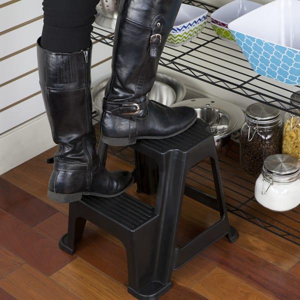 2 Step Black Plastic Stool with Non-Slip Step Treads