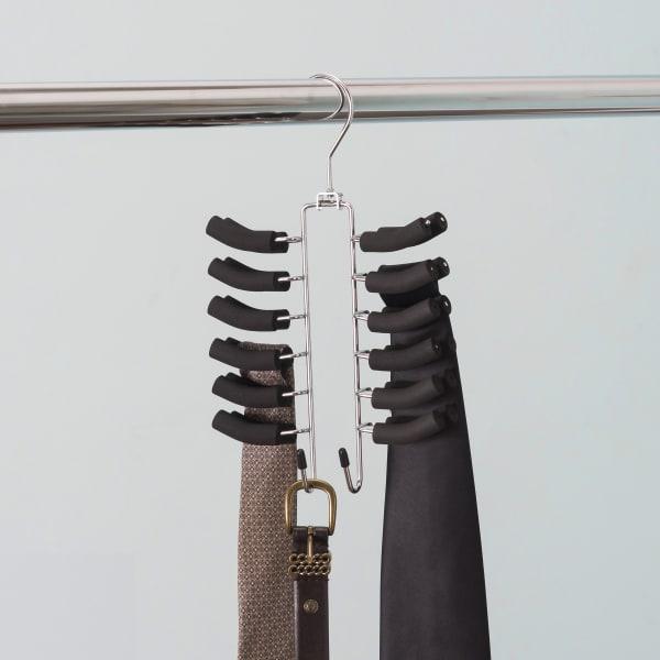 12 Hook Swivel Black  Tie Hanger