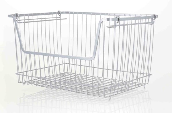 Large Gray Steel Wire Storage Basket