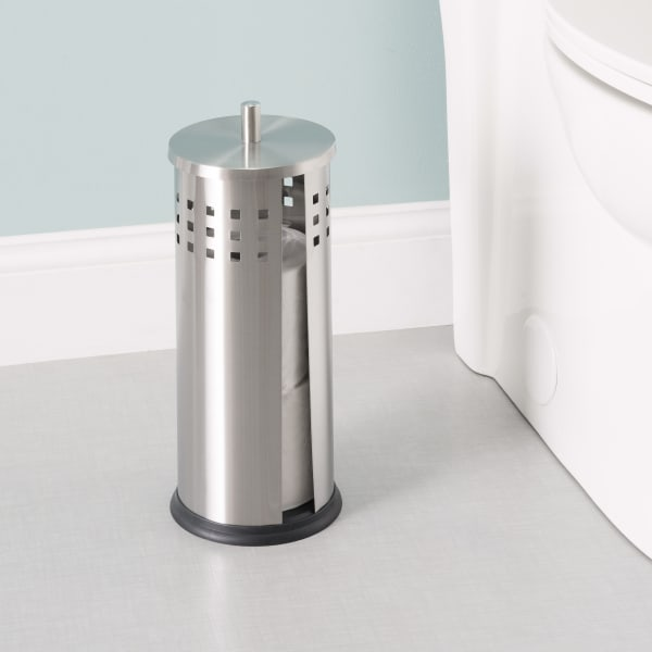Vented Silver Matte Stainless Steel Bath Tissue Reserve with Lid