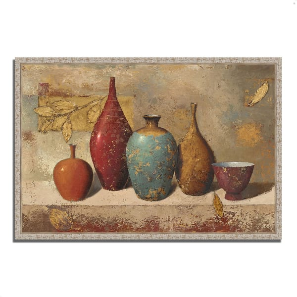 Fine Art Giclee Print on Gallery Wrap Canvas 47 In. x 32 In. Leaves and Vessels by James Wiens Multi Color