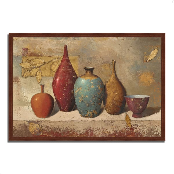 Framed Painting Print 38 In. x 26 In. Leaves and Vessels by James Wiens Multi Color