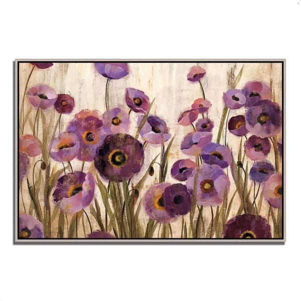 Fine Art Giclee Print on Gallery Wrap Canvas 38 In. x 26 In. Pink and Purple Flowers by Silvia Vassileva Multi Color