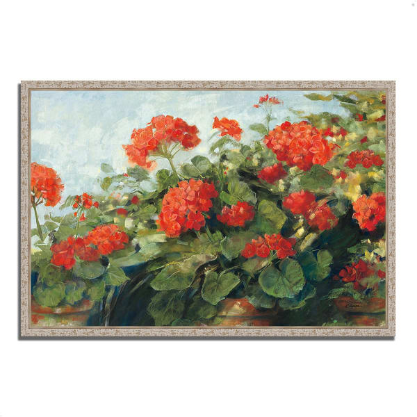 Fine Art Giclee Print on Gallery Wrap Canvas 32 In. x 22 In. Geranium Wave by Carol Rowan Multi Color