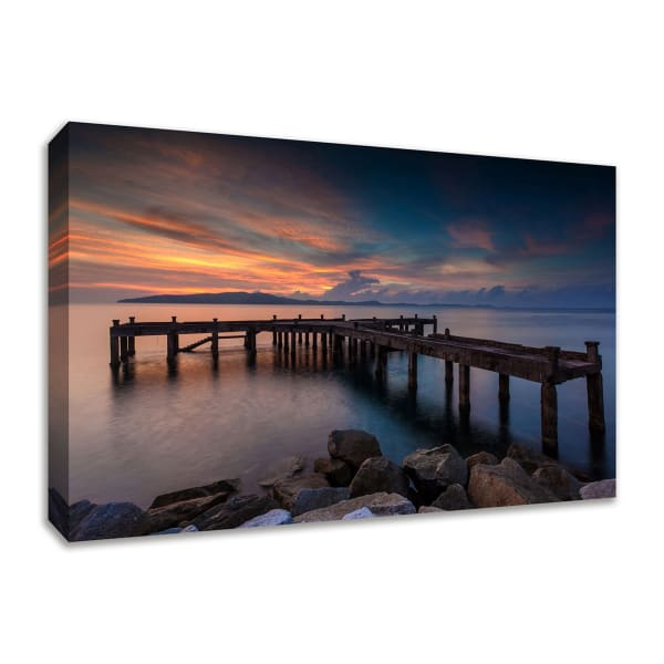 Fine Art Giclee Print on Gallery Wrap Canvas 36 In. x 24 In. Sunrise Jetty Multi Color