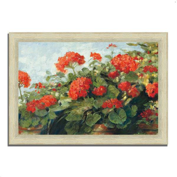 Framed Painting Print 42 In. x 30 In. Geranium Wave by Carol Rowan Multi Color