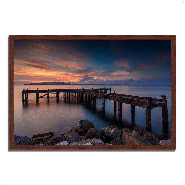 Framed Photograph Print 38 In. x 26 In. Sunrise Jetty Multi Color