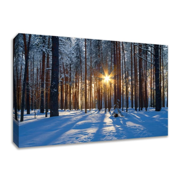 Fine Art Giclee Print on Gallery Wrap Canvas 36 In. x 24 In. Sunset Starburst Multi Color