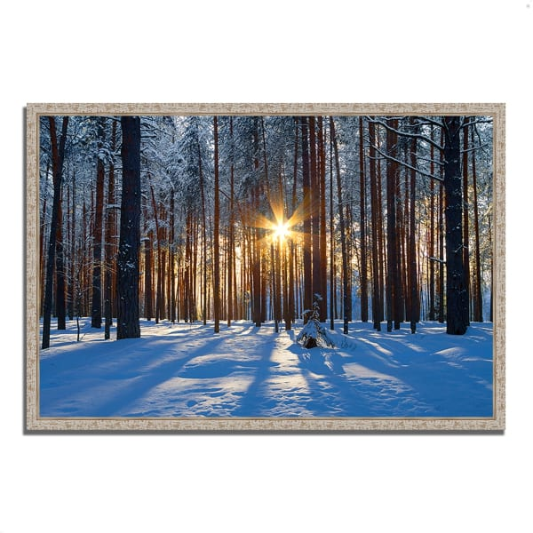Fine Art Giclee Print on Gallery Wrap Canvas 32 In. x 22 In. Sunset Starburst Multi Color