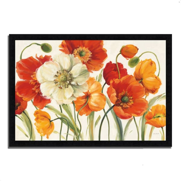 Framed Painting Print 39 In. x 27 In. Poppies Melody I by Lisa Audit Multi Color
