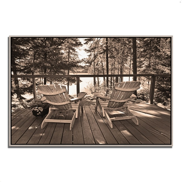 Fine Art Giclee Print on Gallery Wrap Canvas 38 In. x 26 In. At The Lake Multi Color