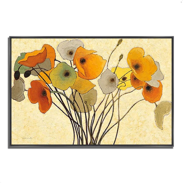 Fine Art Giclee Print on Gallery Wrap Canvas 32 In. x 22 In. Pumpkin Poppies I by Shirley Novak Multi Color