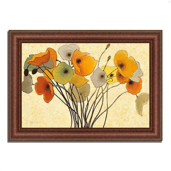 Framed Painting Print 37 In. x 27 In. Pumpkin Poppies I by Shirley Novak Multi Color