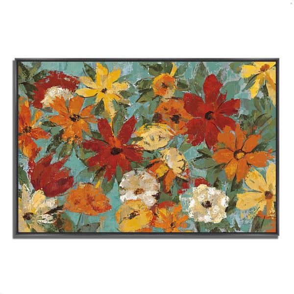 Fine Art Giclee Print on Gallery Wrap Canvas 32 In. x 22 In. Bright Expressive Garden by Silvia Vassileva Multi Color