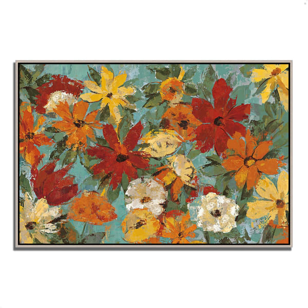 Fine Art Giclee Print on Gallery Wrap Canvas 38 In. x 26 In. Bright Expressive Garden by Silvia Vassileva Multi Color