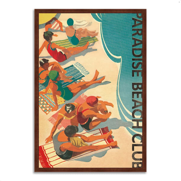 Framed Painting Print 32 In. x 47 In. Paradise Beach Club by Wild Apple Portfolio Multi Color