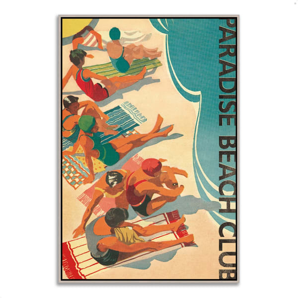 Fine Art Giclee Print on Gallery Wrap Canvas 32 In. x 47 In. Paradise Beach Club by Wild Apple Portfolio Multi Color