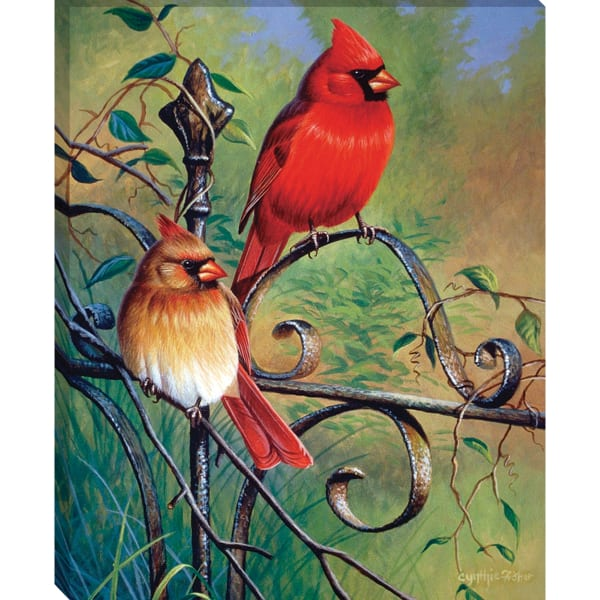 Fine Art Giclee Print on Gallery Wrap Canvas 22 In. x 18 In. Garden VIsitors By Cynthie Fisher Blue