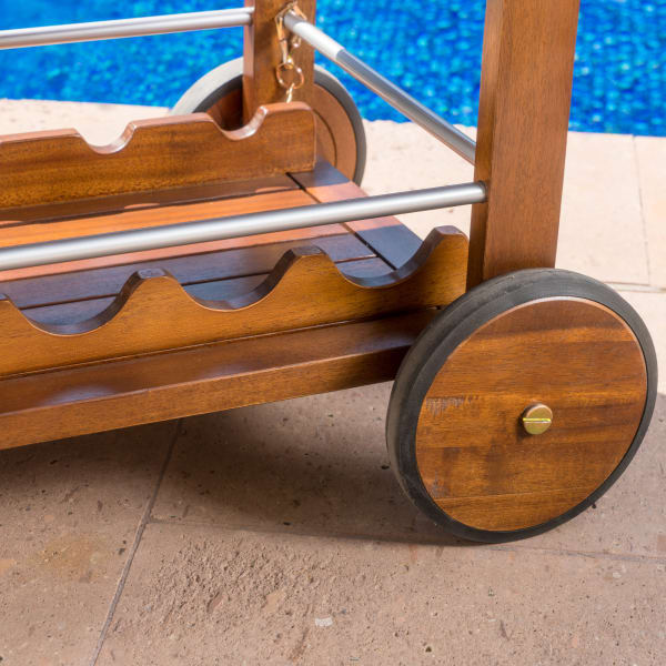 Dark Oak Bar Cart with Aluminum Accents
