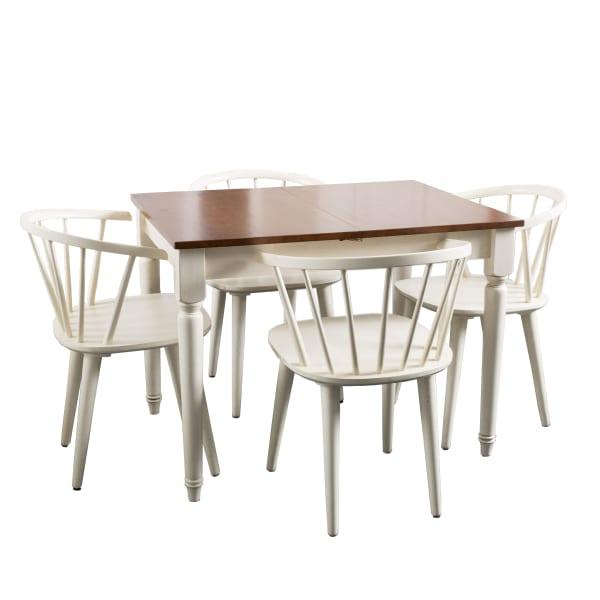 Antique White Expandable Wooden 5-Piece Dining Set