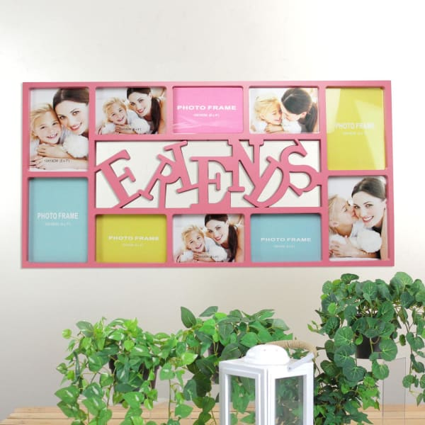 Pink Friends Photo Collage Wall Frame