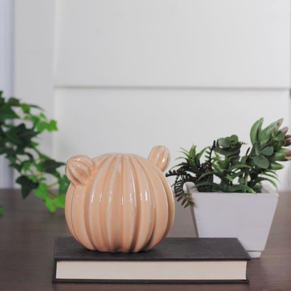 Peach Textured Stripe Tabletop Ceramic Cactus