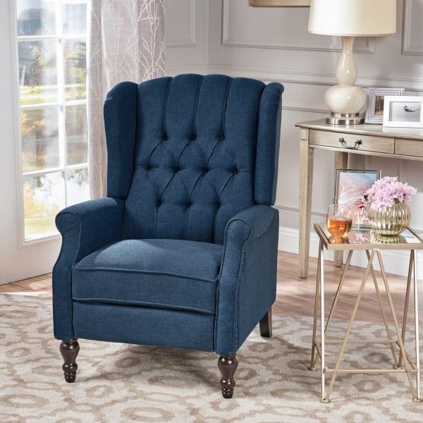 Dark Blue Tufted Upholstered Recliner