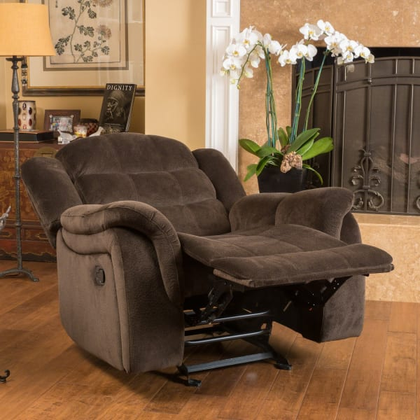 Chocolate Upholstered Gliding Recliner
