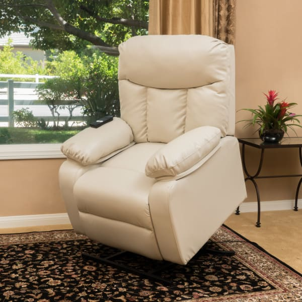 Beige Leather Lift Up Chair