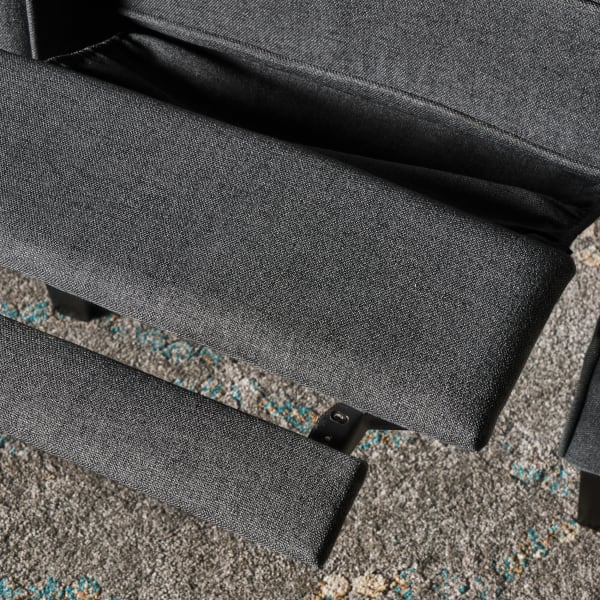 Traditional Charcoal Upholstered Recliner