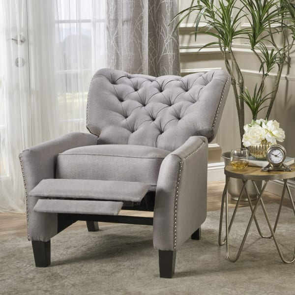 Classic Light Gray Tufted Recliner