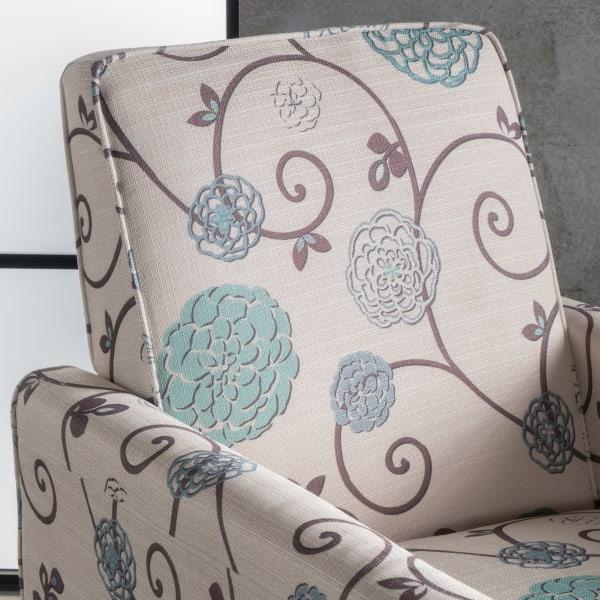 White & Blue Upholstered Recliner