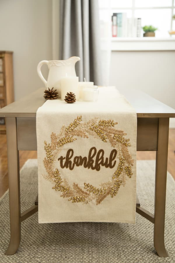 Embroidered Thankful Table Runner