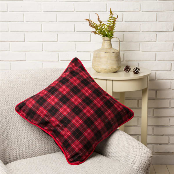 Red & Black Plaid Pillow Cover