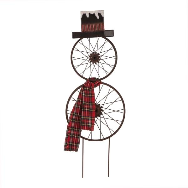 Bicycle Wheel Snowman Yard Stake & Wall Decor
