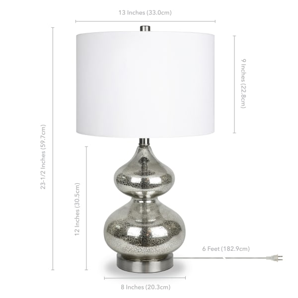 Katrin Mercury Glass Table Lamp with Satin Nickel Accents