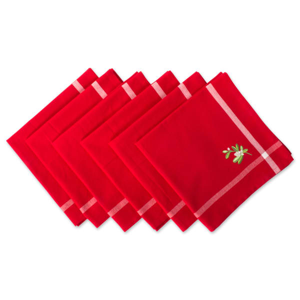 Embroidered Mistletoe Napkin Set
