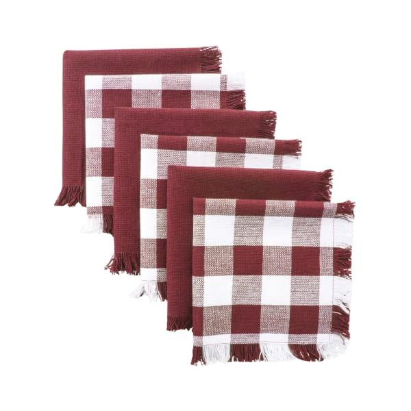 Berry Checked Fringe Dishcloth Set