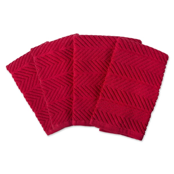 Textured Red Dish Towel Set of 4