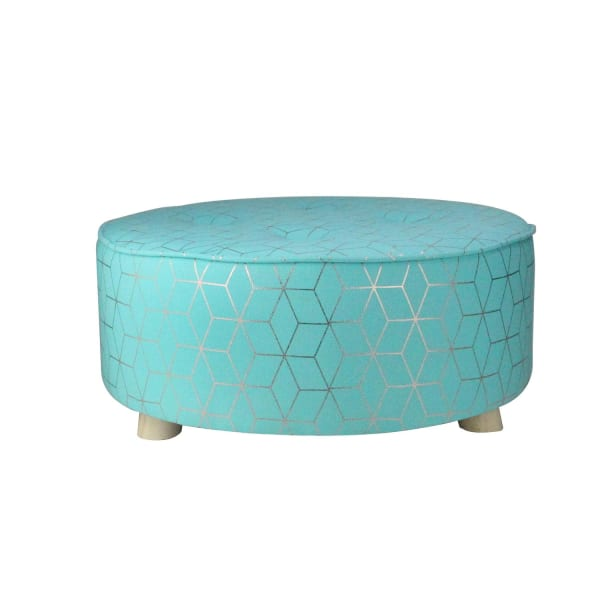 Blue & Copper Geometric Print Round Stool