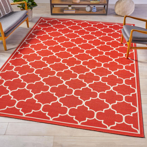 Geometric Red Rug 8 x 11