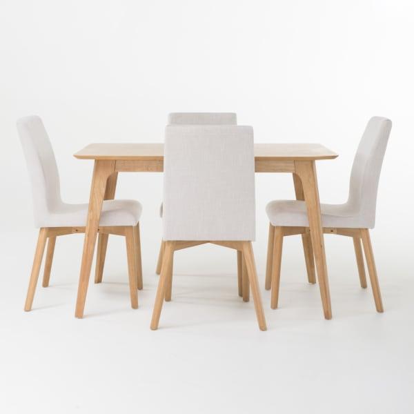 Light Gray & Natural Rubberwood 5-Piece Dining Set