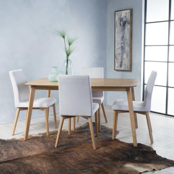 Oak & Light Beige Rectangular 5-Piece Dining Set 60