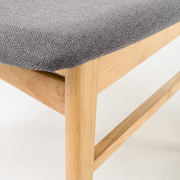 Oak & Dark Gray Curved Leg Mid-Century 5-Piece Dining Set